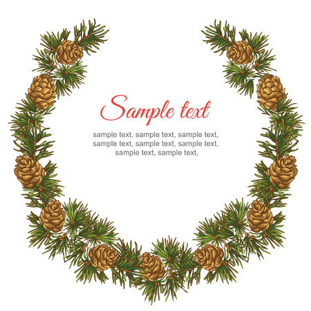 fir cone: Garland with fir cone border on white background