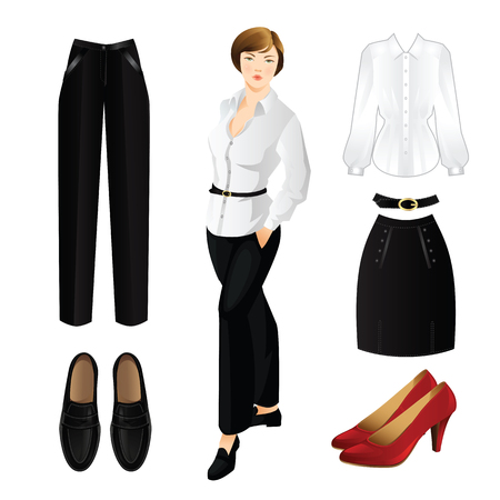 black pants: Woman in black pants and white blouse with gold button.