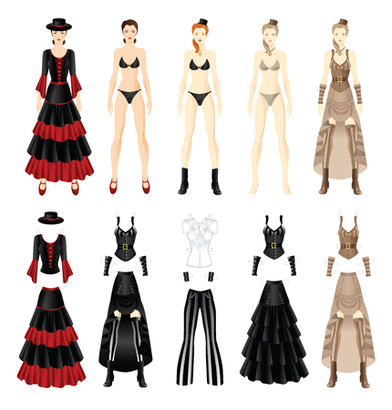 victorian woman: Doll with clothes. Set of template paper clothes of Victorian age. Set of template paper clothes of flamenco dancer. Woman in spanish clothes.