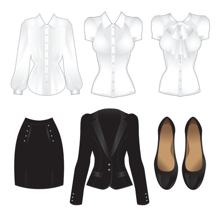 official wear: Office clothes. Clothes for women. Black suit, classic black shoes and various white blouse Illustration