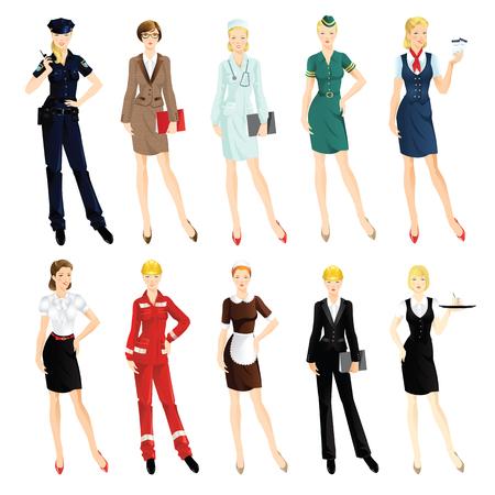 흰색 배경에 고립 된 전문 여성의 집합입니다. 제복을 입은 여자. 교수, 비즈니스 여자, 노동자, 군사, 스튜어디스, 의사, 웨이트리스, 하녀, 비서, 엔지