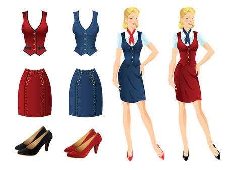 official wear: Set of uniform clothes various color and various texture. Collection of vest, skirt and shoes. Blue vest and skirt with gold buttons. Red vest and skirt with gold buttons.