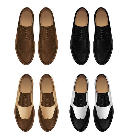 oxford: Set of classic mens shoes .Shoes in retro style. Shoes in various color on white background. The fore part of the shoe is stitched on top of the side panels of the shoe Illustration