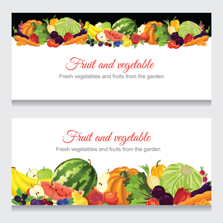 leek: Abstract design banners with various fruit, berry and vegetables.