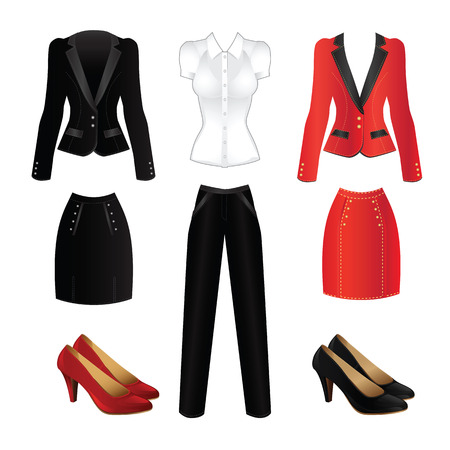 Office clothes. Clothes for women. Red formal suit and black official suit. Classic shoes for woman Vettoriali