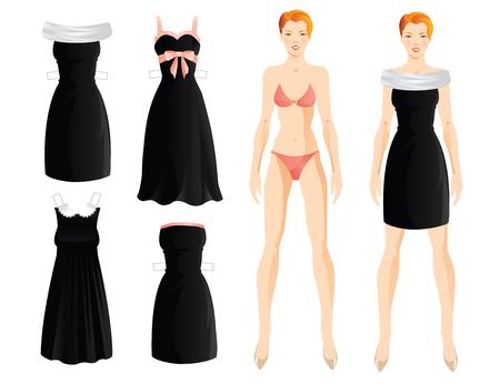 옷에 인형. 본문 템플릿입니다. 템플릿 종이 작은 검은 드레스의 집합입니다. 핑크 새틴 리본 블랙 드레스. 흰색 레이스 칼라와 프랑스 스타일의 블랙