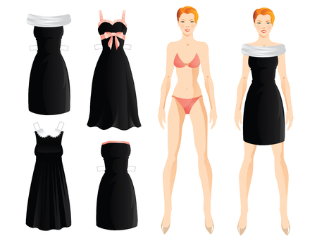 Doll with clothes. Body template. Set of template paper little black dress. Black dress with a pink satin ribbon. Black dress in french style with white lace collar