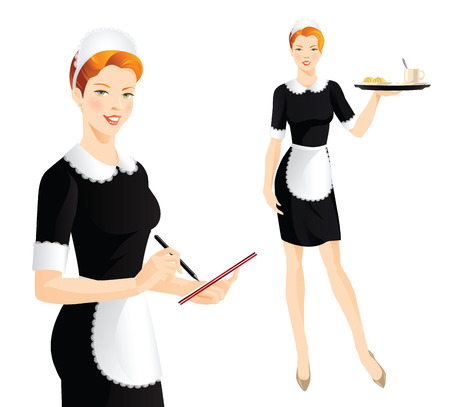 french style: The waitress takes an order. Waitress with tray. Pretty woman in french style uniform.