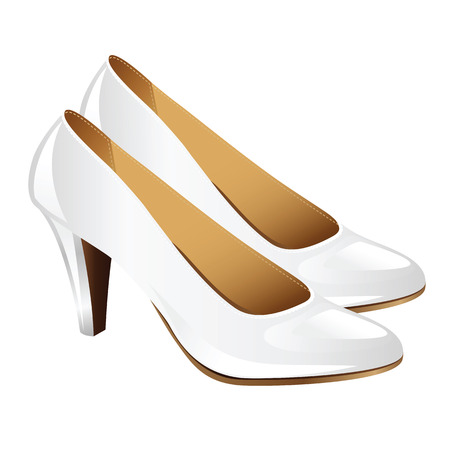 classic woman: Classic woman shoes on hight heel. White court shoes isolated on white background. White elegant shoes for bride