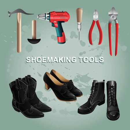 awl: Shoemaking tools on color background of paint splatters. Black boots and shoes. Nippers, awl, pliers. Vector illustration of electric screwdriver or drill