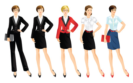 Set of office worker or business people in uniform.