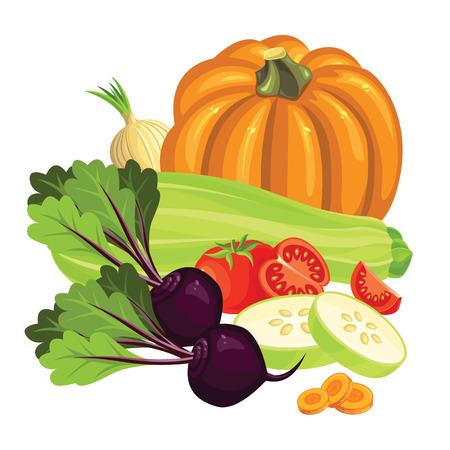 pumpkin tomato: Set of vegetables. Tomato and slice tomato, radishes, pumpkin and beetroot. Squash and squash slice