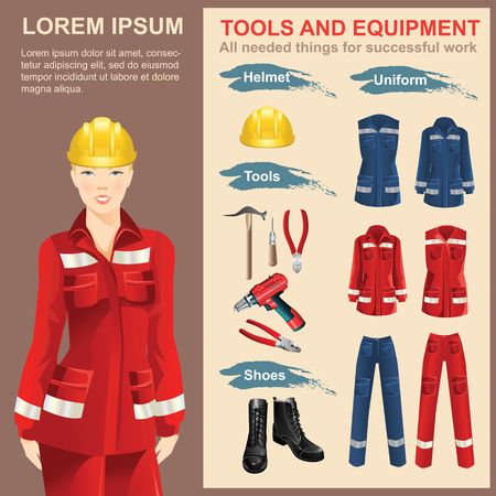 Set of work hand tools. Vector illustration of electric screwdriver or drill. Woman worker in protective wear and helmet. Set of protective wear, shoes and yellow safety helmet
