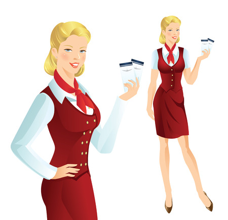 hostess: Beautiful blonde air hostess. Stewardess holding ticket in her hand. Girl in official red clothes Illustration