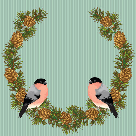 fir cone: Merry christmas or new year card. Garland with fir cone border on color background. Bullfinch on fir tree