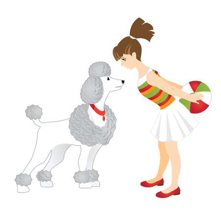 playtime: Girl playing with her dog. Cartoon vector illustration