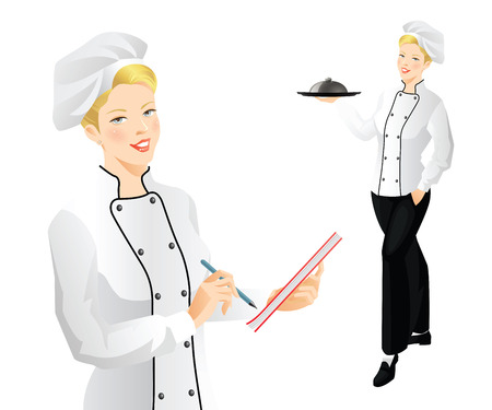 confectioner: Pretty woman cook chief holding tray in her hand. The cook chief takes an order.