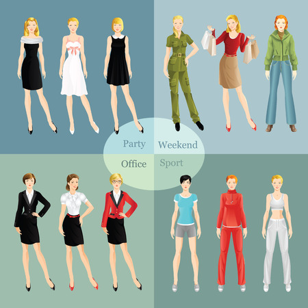 sport wear: Collection of girl in different clothes. Woman in sport wear. Girl in little black dress. Women in glasses. Girl in formal suit. Blond woman in red blouse buy presents. Girl in bomber jacket and jeans Illustration