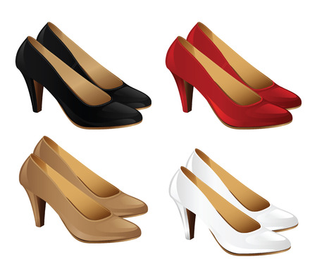 classic woman: Classic woman shoes. Red court shoes isolated on white background. Pale sandy yellowish-brown colorcourt shoes. White elegant shoes for bride. Black formal shoes Illustration