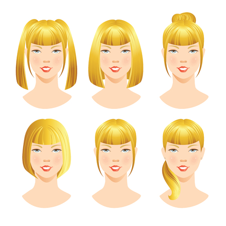 beautiful bangs: illustrations of beautiful young girls with various hair styles. Different hairstyles with bangs.