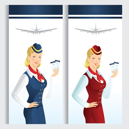 hostess: Card or ticket template with beautiful blonde air hostess. Stewardess holding ticket in her hand. Girl in official clothes