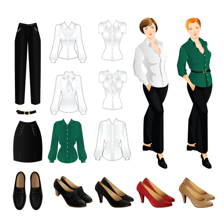 office shoes: Woman in black pants and white blouse with gold button. Girl in loafers shoes. Set of clothes for office. Classic woman red shoes on high heel