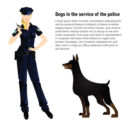 Dogs in the service of the police. Beautiful policewoman in uniform. Officer woman isolated on white.