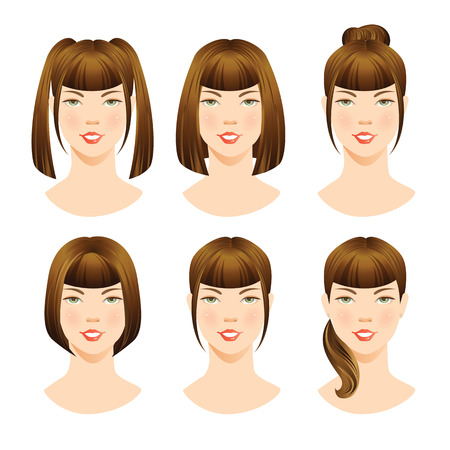 forelock: illustrations of beautiful brunette girls with various hair styles. Different hairstyles with bangs. Illustration
