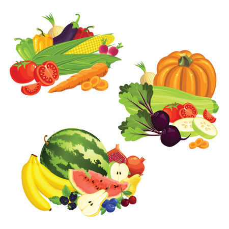 verdant: Set of various fruit, berry and vegetables