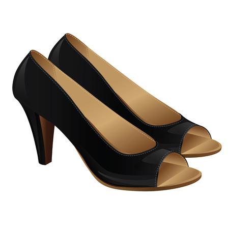 black girl: Klassische Frauenschuhe mit offenen Fingern. Schwarze formale Schuhe isoliert auf wei�em Hintergrund Illustration