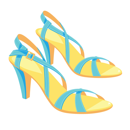 girls feet: illustration of light blue sandals with ankle strap isolated on white background. Summer shoes for girl and woman.