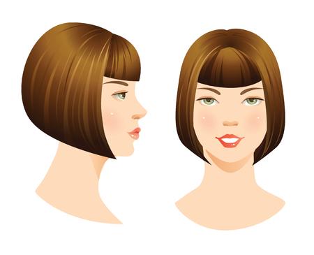 rostro de mujer aislado sobre fondo blanco. conjunto de cara con corte de pelo bob. Cara delante. Cara de perfil. Peinados con flequillo. Ilustración de vector