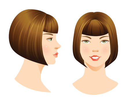 Woman face isolated on white background. set of face with bob haircut. Face in front. Face in profile. Hairstyles with bangs. Vetores
