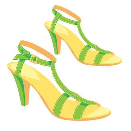girls feet: illustration of green sandals with ankle strap isolated on white background. Summer shoes for girl and woman.