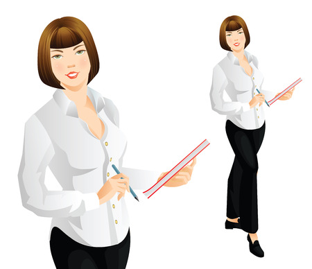 illustration of secretary or teacher in official formal clothes. Young woman in black pants and white formal blouse. Woman writing document.