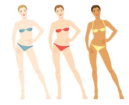 ropa interior niñas: ilustración de la mujer con diferentes colores de piel y colores diferentes bikini aislada sobre fondo blanco. plantillas cuerpo.
