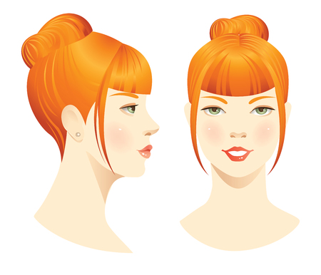 cabeza de mujer: rostro de mujer aislado sobre fondo blanco. conjunto de la cara con corte de pelo elegante. Cara delante. Cara de perfil. Peinados con flequillo. Vectores