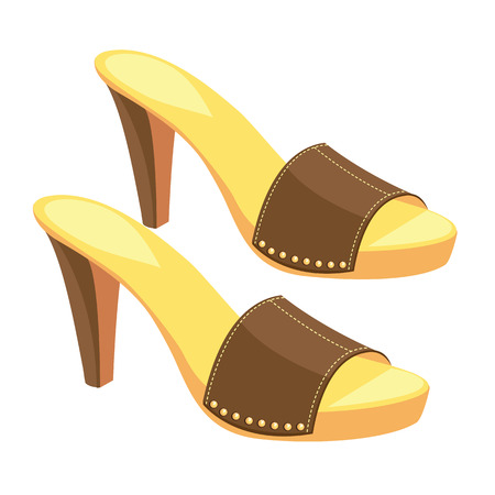 girls feet: illustration of brown open-back shoes with metallic decoration isolated on white background. Summer shoes for girl and woman.