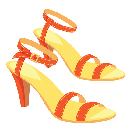 girls feet: illustration of red sandals with ankle strap isolated on white background. Summer shoes for girl and woman.