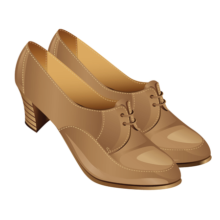 girls feet: illustration of beige classic autumn shoes with laces on middle heel. Women shoes isolated on white Illustration