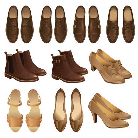 古典的な靴のスタイルのイラスト。男の茶色の革の靴と女性の黒革の靴のセット。ビジネス人のための黒のフォーマルな靴のペア。モンク ローファ