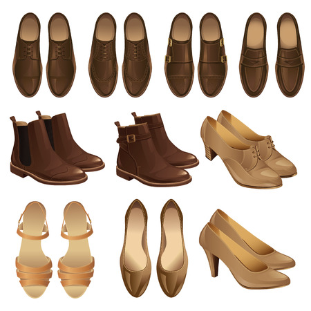 illustration of classic shoe style. Set of man leather brown shoes and woman leather black shoes. Pair of black formal shoes for business man. Monk shoes, loafer shoes