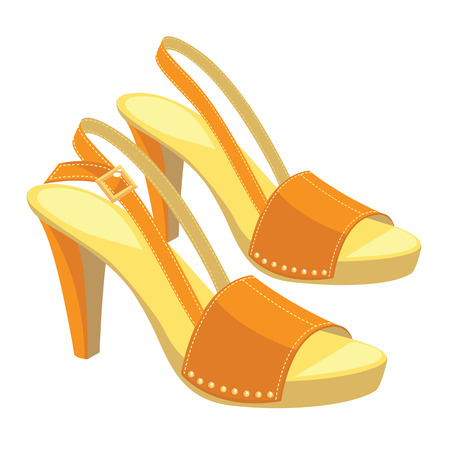 girls feet: illustration of orange open-back shoes with anckle strap on white background. Summer shoes for girl and woman.