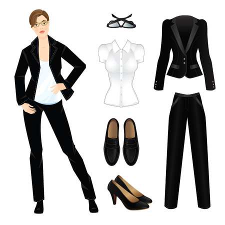 dress code: illustration of corporate dress code. Office uniform. Clothes for women. Business woman or professor in official black formal suit. Woman in glasses. Formal black shoes isolated on white.