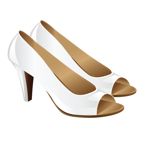 hight: illustration of classic woman shoes on hight heel with open fingers. White elegant official shoes for bride isolated on white background