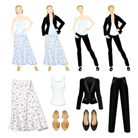 official wear: Vector illustration of different look with black suit and white shirt. Romantic and formal style of clothes. Pretty woman in white blouse, black jacket and skirt with flower print. Various hairstyle Illustration