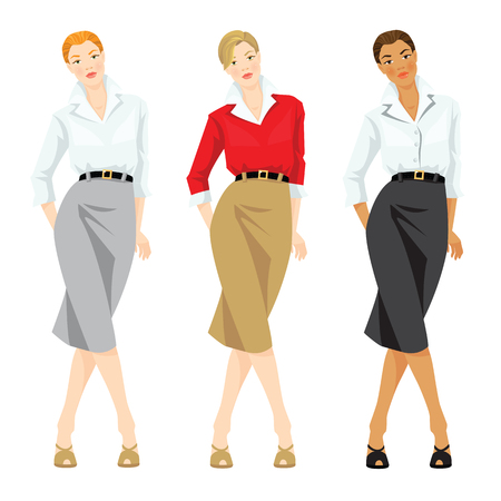 formal dress: Vector illustration of corporate dress code and casual style of clothes. Business woman or professor in elegant formal suit. Woman in red cardigan and white blouse. Woman with different skin tone Illustration