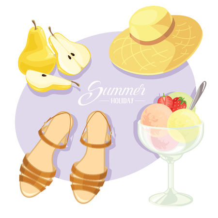 Vector illustration of summer holiday motive. Pear and pear slice, straw hat, sandals and ice cream. Balls of ice cream with strawberry and strawberry slice in glass cup.