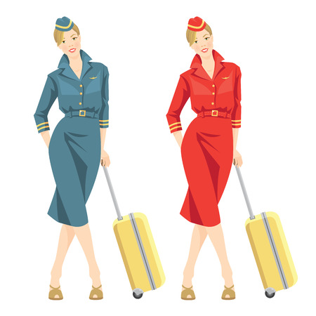 Vector illustration of beautiful blonde air hostess in corporate dress. Stewardess holding travel case in her hand. Woman in official clothes Illustration