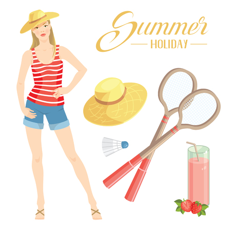 badminton: Vector illustration of woman in summer clothes on white background. Pretty girl in red striped shirt and blue shorts of jeans fabric. Set of badminton equipment. Letter of summer holiday.